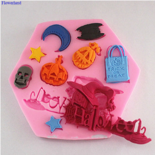 Halloween Pumpkin Letter Shape Silicone Mold DIY Chocolate Mold Fondant Hat Star Cake Decorating Tools Kitchen Accessories