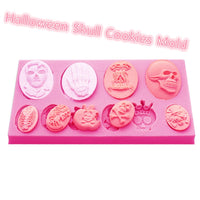 10X Halloween Skull Silicone Cookies Mold Chocolate Cake Candy Cookies Fondant Cake Mould DIY Pumpkin Pie Mould Baking Gadgets