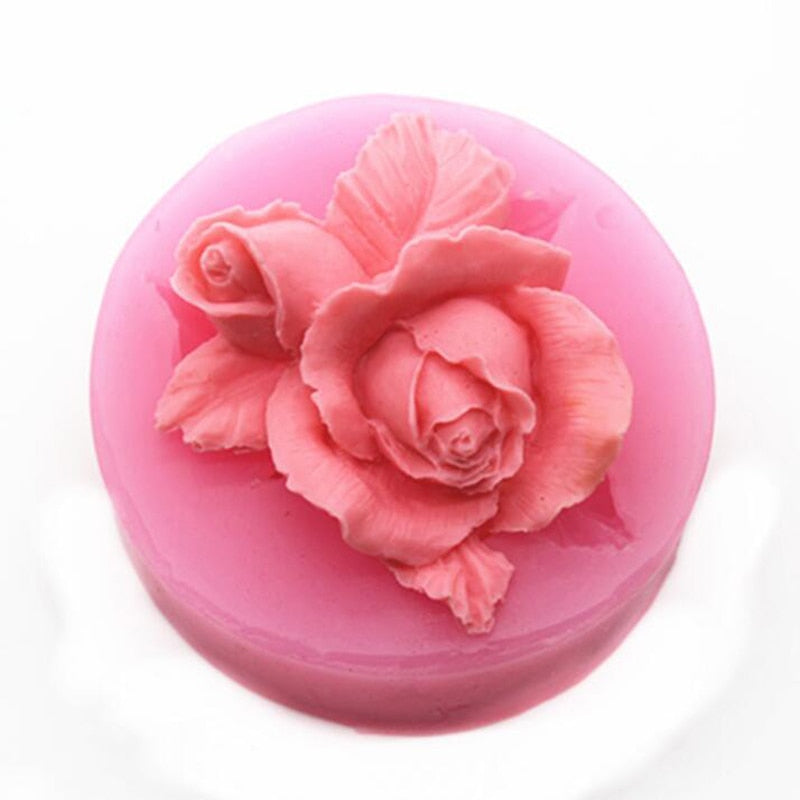 3D Rose Flower Bloom Silicone Fondant Soap Cake Mold Cupcake Jelly Candy Chocolate Decoration Baking Tool Moulds