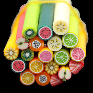 Wholesale Nail Art Tip Sticker Polymer Clay Cane Soft Ceramic Fruit Resin Accessories Decal Decoration 4000pcs/lot free shipping