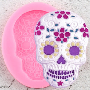 Halloween Skull Head Silicone Mold Mask Chocolate Candy Mold Cupcake Topper Fondant Cake Decorating Tools Soap Resin Clay Mould