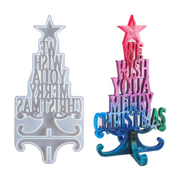 DIY Christmas Series Crystal Epoxy Resin Mold Christmas Tree Letter Silicone Mold Decoration Christmas Silicone Mold For Resin