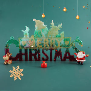DIY Crystal Epoxy Resin Mold Christmas Santa Letters Listing Decoration Silicone Mold For Resin