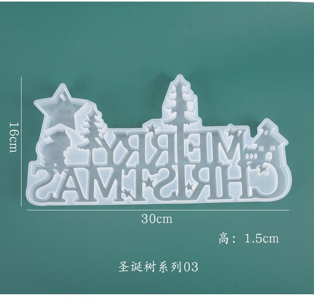 DIY crystal epoxy resin mold Christmas listing decoration Merry Christmas English mirror silicone mold for resin