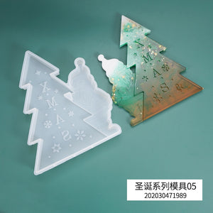 DIY Crystal Epoxy Resin Mold Christmas Tree Santa Claus Listing Decoration Theme Silicone Mold For Resin