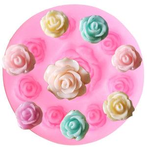 Mini Rose Flower Silicone Mold Candy Clay Chocolate Gumpaste Mould Kitchen Baking Cupcake Topper Fondant Cake Decorating Tools