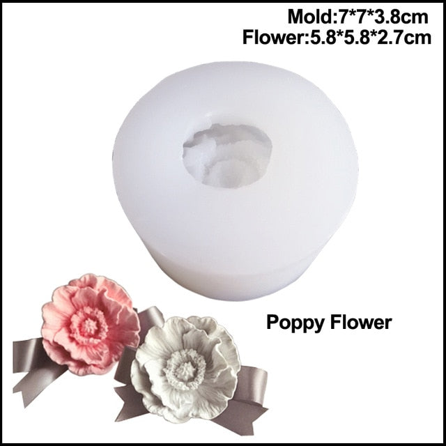 2020 Large New Poppy Silicone Mold  Resin Mould