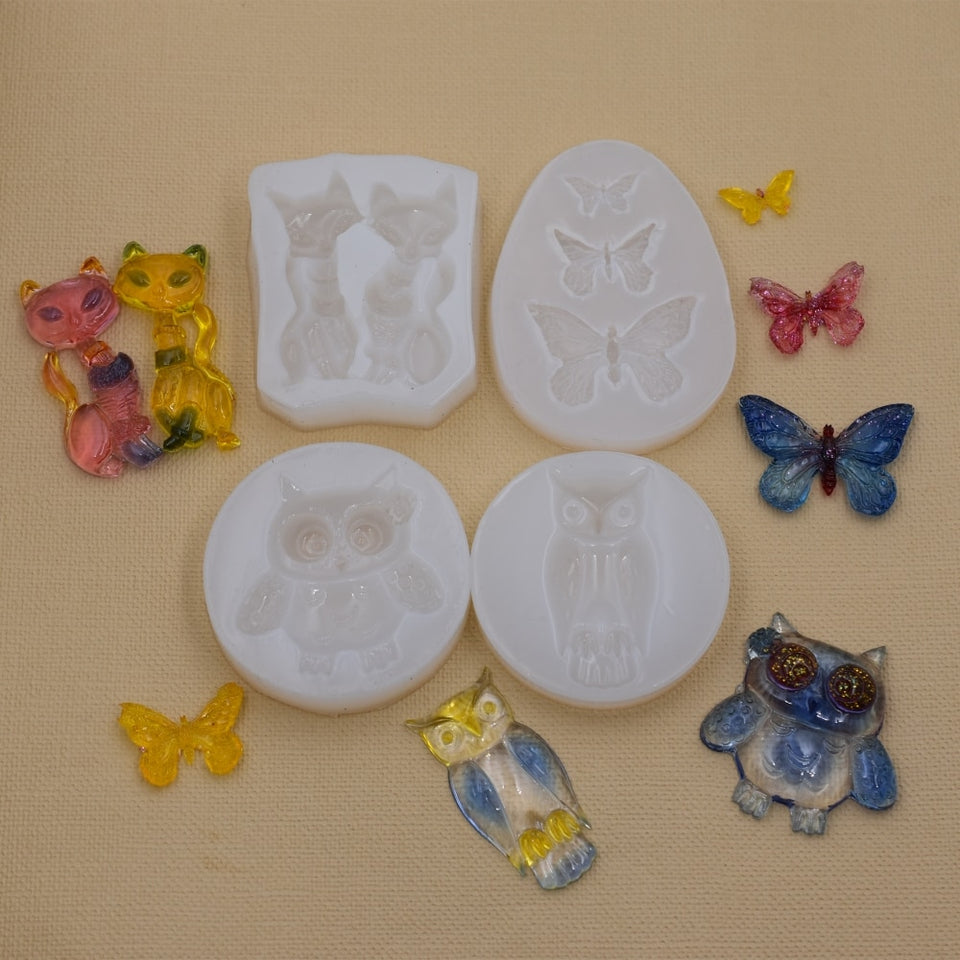 Silicone Mold for jewelry Butterfly Owl cat animals Resin Silicone Mould handmade tool   Resin  epoxy resin molds