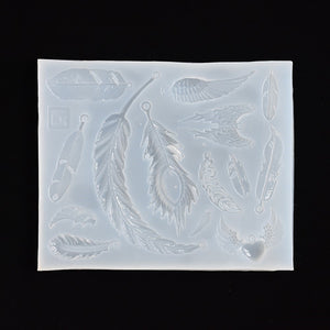 Silicone Mold for jewelry Feather charms pendant Resin Silicone Mould handmade tool   epoxy resin molds