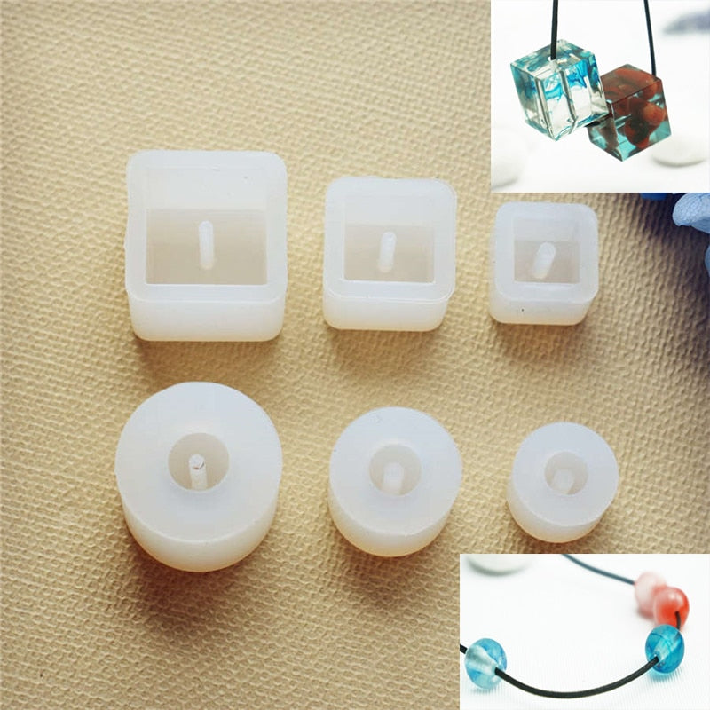 Silicone Mold for jewelry square ball beads with hole Resin Silicone Mould handmade tool  Craft  epoxy resin molds