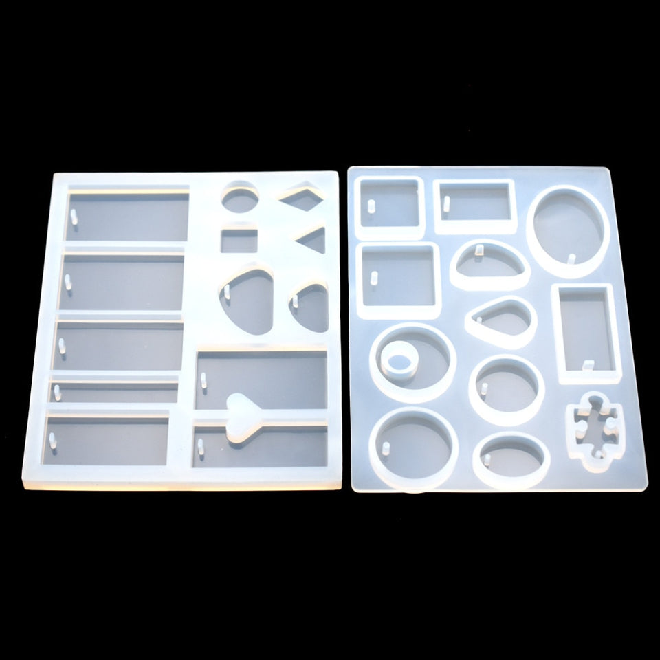 Pendant silicone Mold Resin Silicone Moulds handmade tool  epoxy resin molds Square Round  rectangle with hole