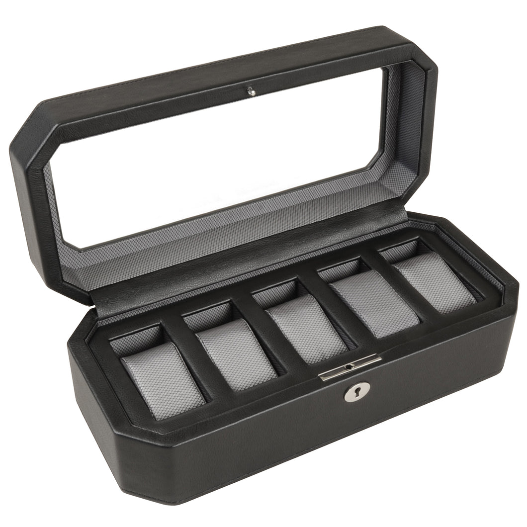 WOLF Windsor 5 Piece Watch Box - Black