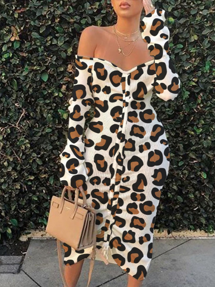 Off the shoulder Leopard Print dress