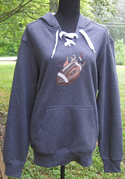 Football v-neck with laces hoodie