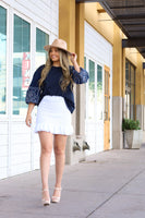 Navy Blue Puff Sleeve Top