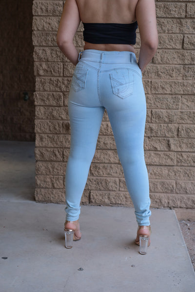 FINAL SALE Butt I Love You High Waisted Jeans - Light Wash