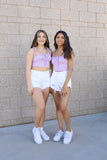 Lilac - Maya Ruffle Crop Top
