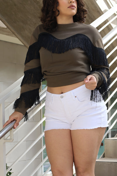 Olive - Black Fringe Sweater