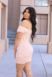 Pink - Smock Floral Off the Shoulder Dress