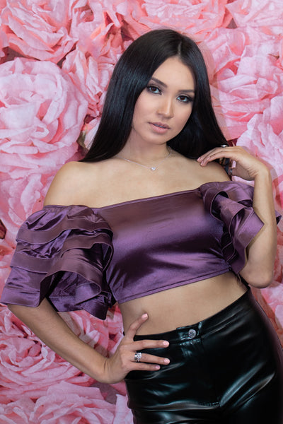 Plum - Christine Ruffle Crop Top