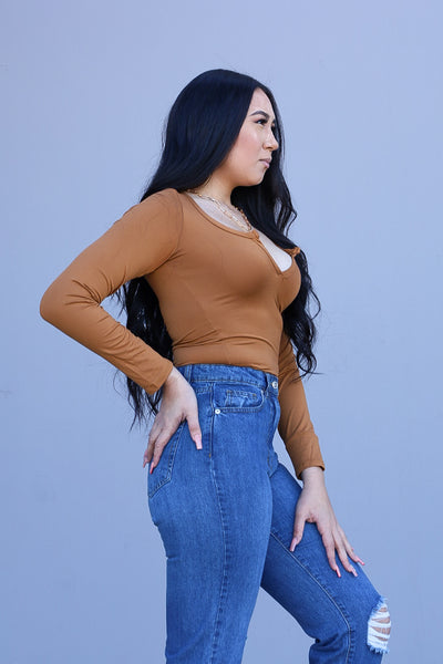 Cognac - Selena Long Sleeve Bodysuit
