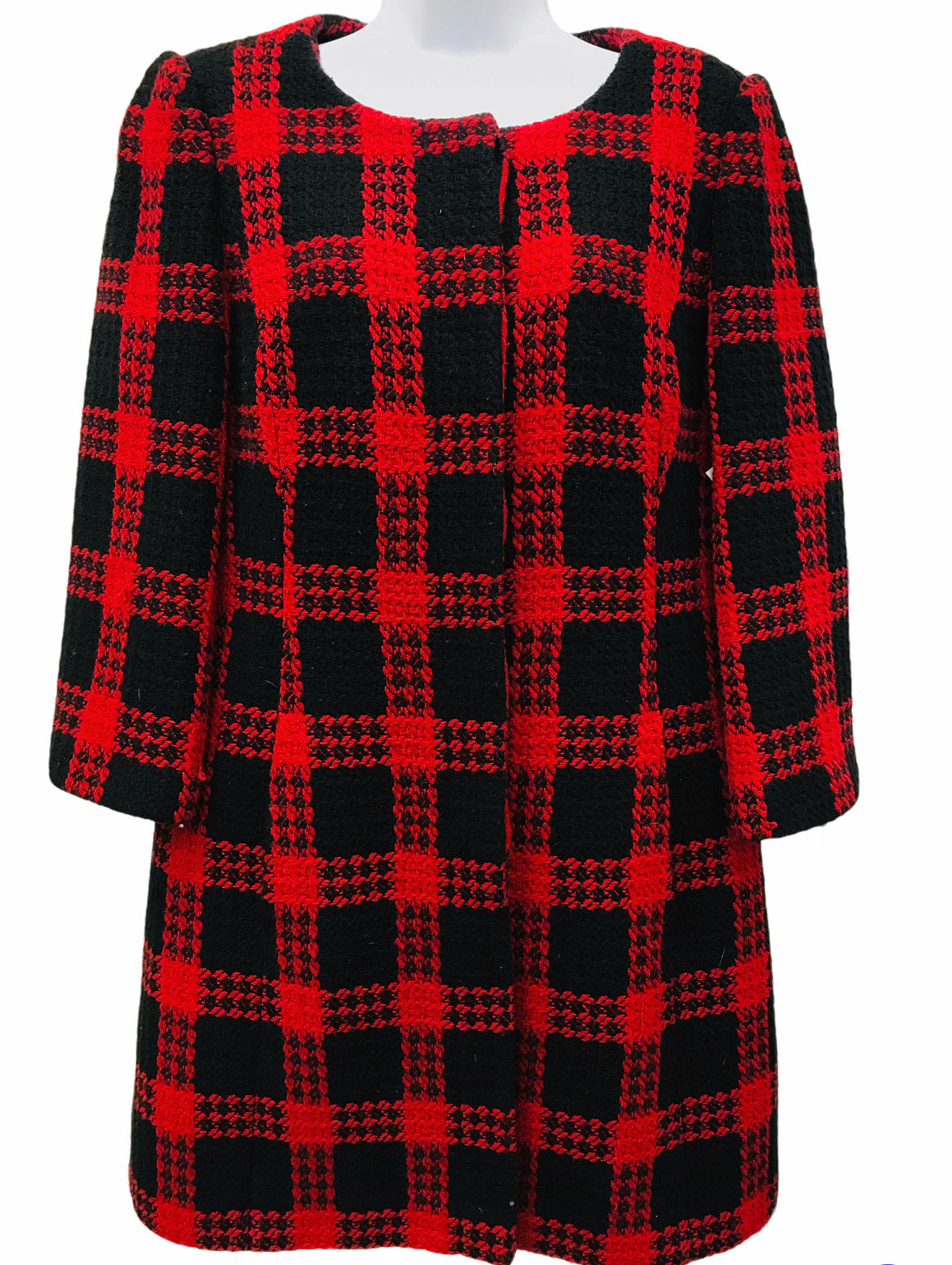 Ann Taylor Loft Coat - <UL> <LI>RED AND BLACK LOFT COAT</LI> <LI>SIZE 12</LI> <LI>STRUCTURED SHOULDER</LI> <LI>GENTLY WORN</LI> </UL>