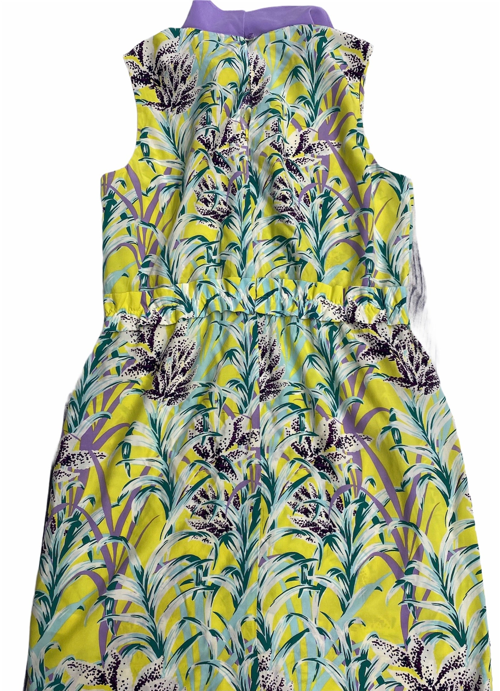 Kate Spade Sleeveless Dress - <P>YELLOW WITH LILAC FLIERS AND COLLAR, ELASTIC WASTE SIZE L</P>