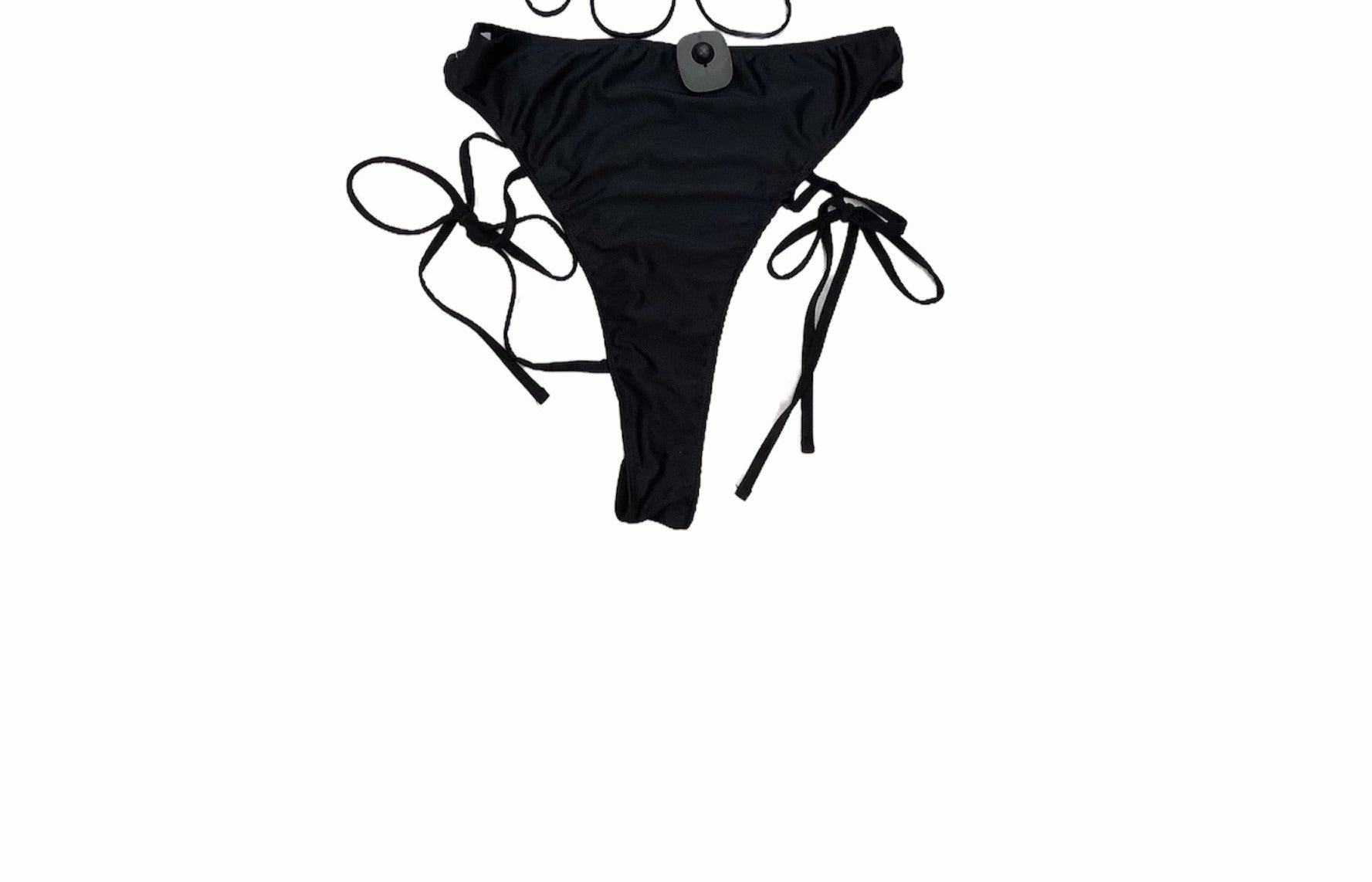 NWT Pretty Little Thing Bikini Bottom - NWT PLT BLACK BIKINI BOTTOM WITH STRAP DETAILS
