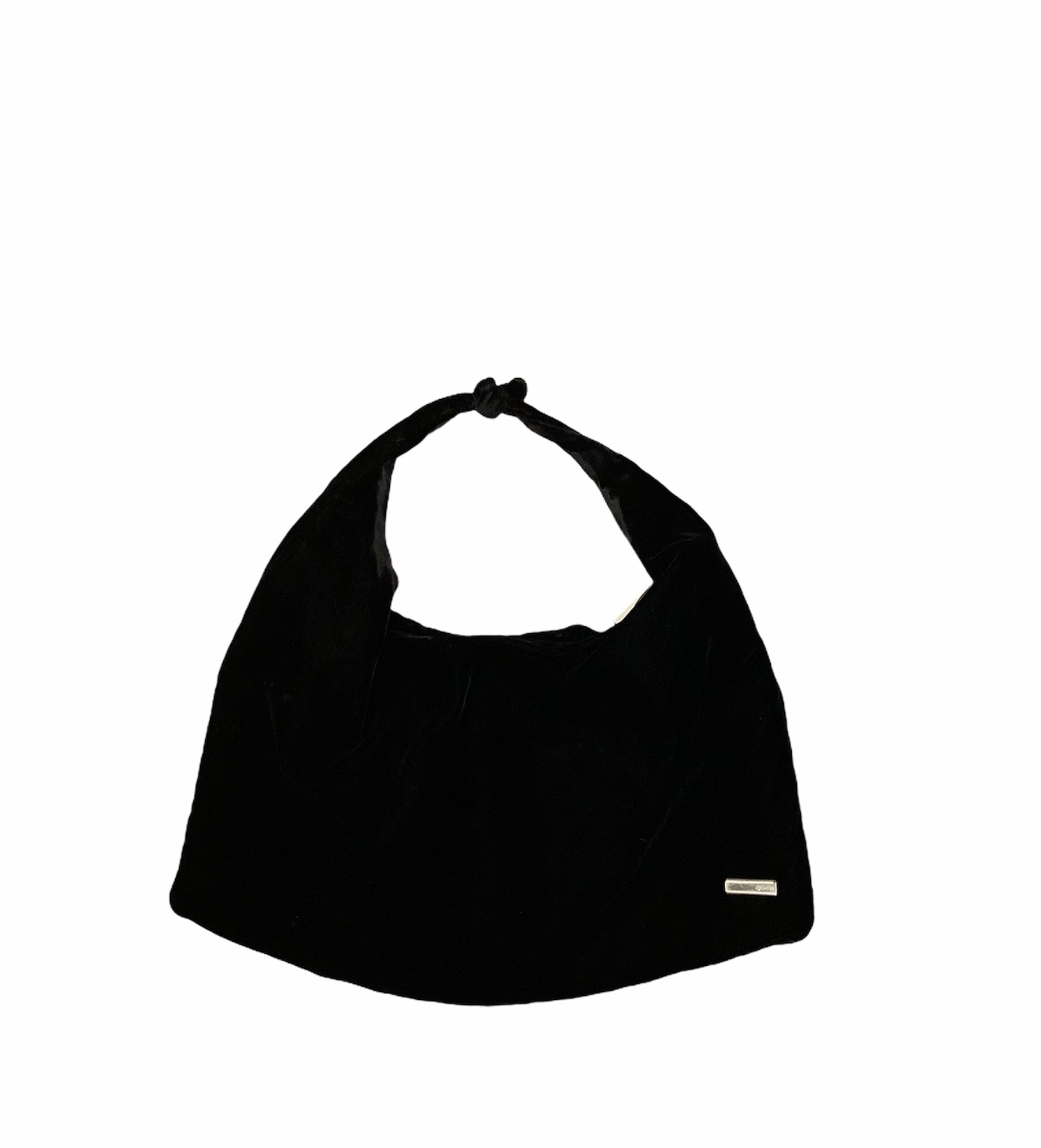DKNY Tie Bag - <P>BLACK VELVET TOTE BAG WITH A KNOT TIE AT THE TOP OF THE STRAP (SEE PHOTOS)</P> <P>COLOR: BLACK</P>