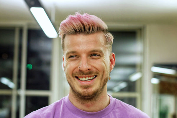 "Pink Dyed Skin Fade Side Part Haircut With Razored ""Surgical Line"""