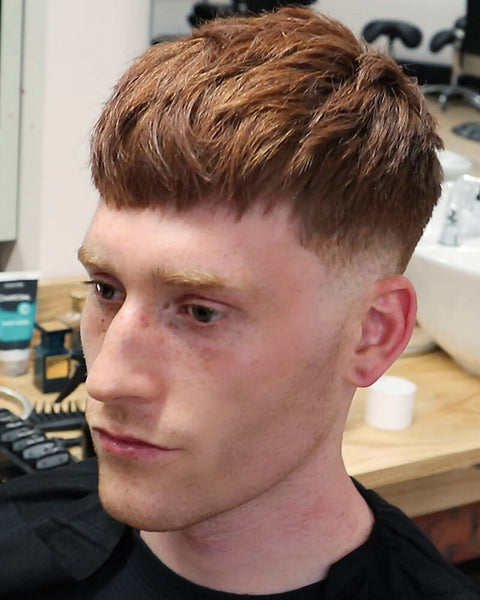 Textured Crop Blunt Fringe Haircut For Men With Skin Fade VIDEO