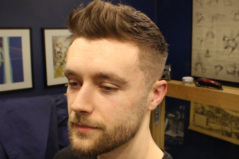 Short Textured Fade Haircut For Men With Front Cowlick