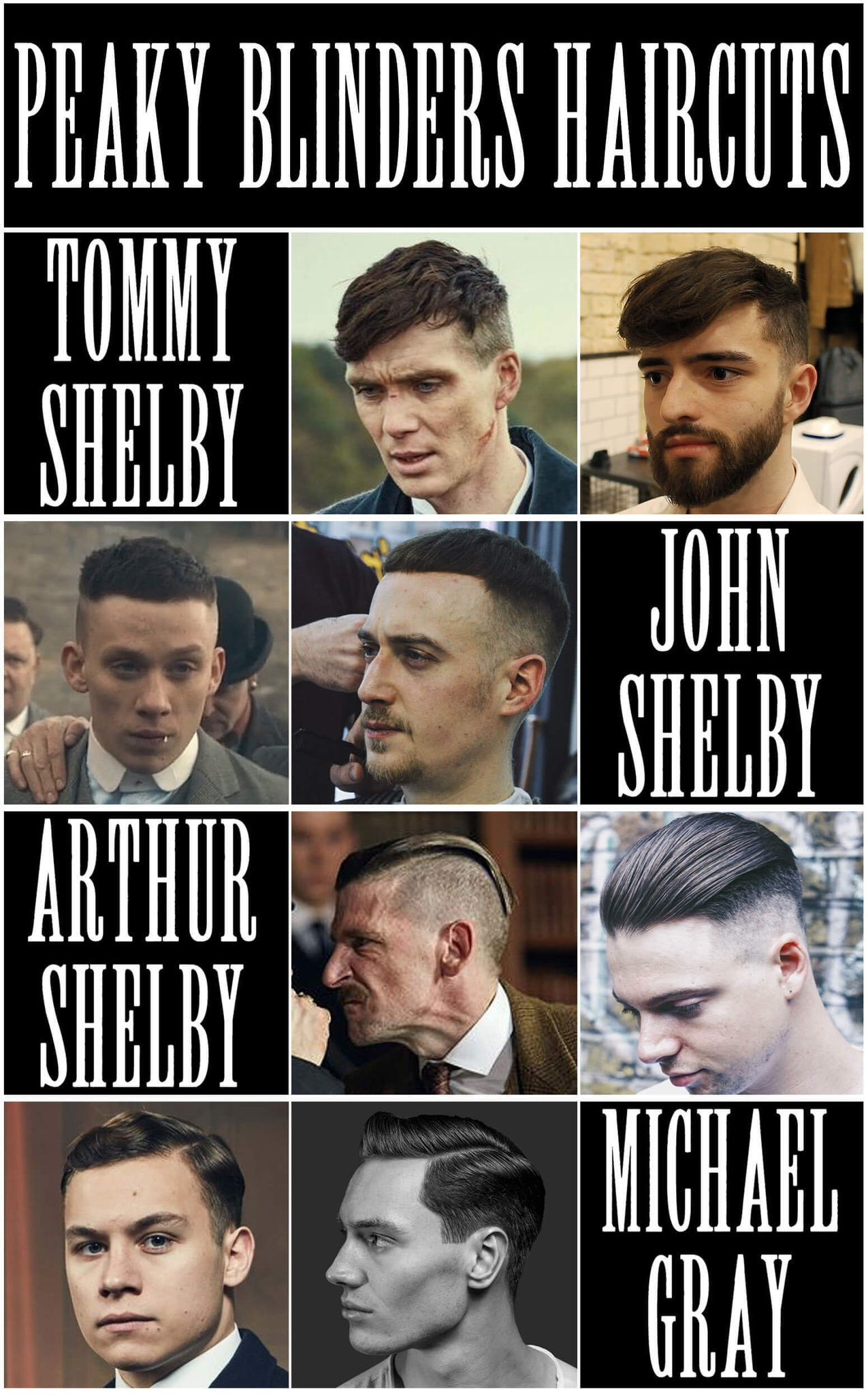 How To Get The Peaky Blinders Haircuts | Tommy Shelby, Arthur Shelby, John Shelby, Michael Gray Peaky Blinders Hair