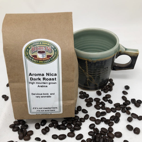 Aroma Nica Dark Roast - Direct trade full bodied with rich, smooth, chocolate undertones.