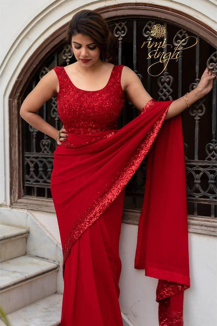 Blood Red Color Sequin Work Festive Wear Saree Fab Factory