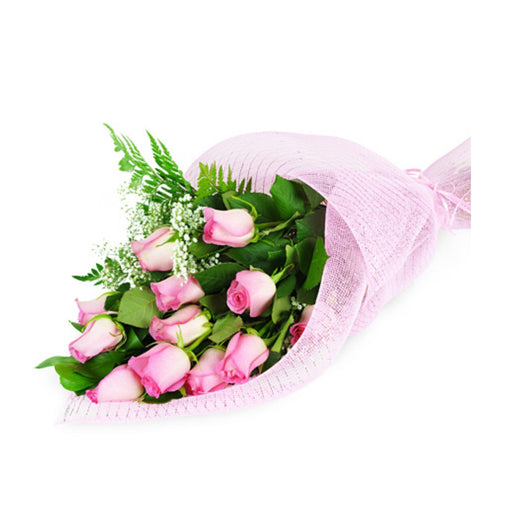 Perfect Wrapped Long Stemmed Pink Roses 2020 - House Plants by Purple Rose Florist