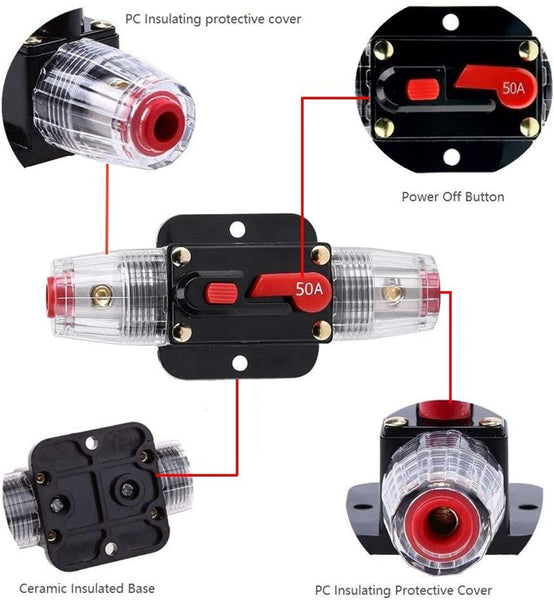 50A/60A/80A Car Audio Inline Circuit Breaker for Stereo Switch System Protection - Cohomer