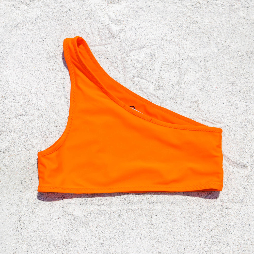 Taylor One Shoulder Bikini Top, Bright Orange