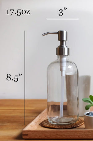 2-Pack Dispenser Pump Bottles for Kitchen and Bathroom - Dish Soap, Hand Soap, Shampoo, Lotion, Mouthwash, and More - Rust Resistant Stainless Steel Pump