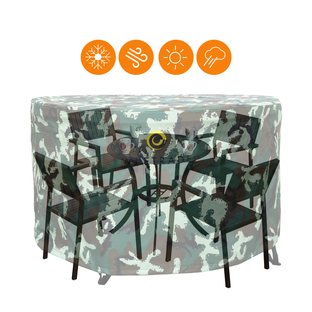 WJ eTrade Patio Furniture Covers, Outdoor 600D Heavy Duty Waterproof UV Resistant Table and Chairs Cover Fit Small Medium Large Round Dining Set, Camouflage