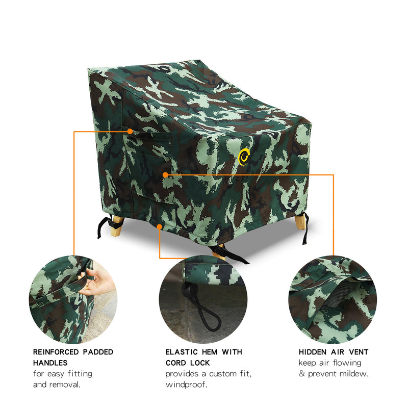 WJ eTrade Patio Chair Covers, 2Pack, Camouflage