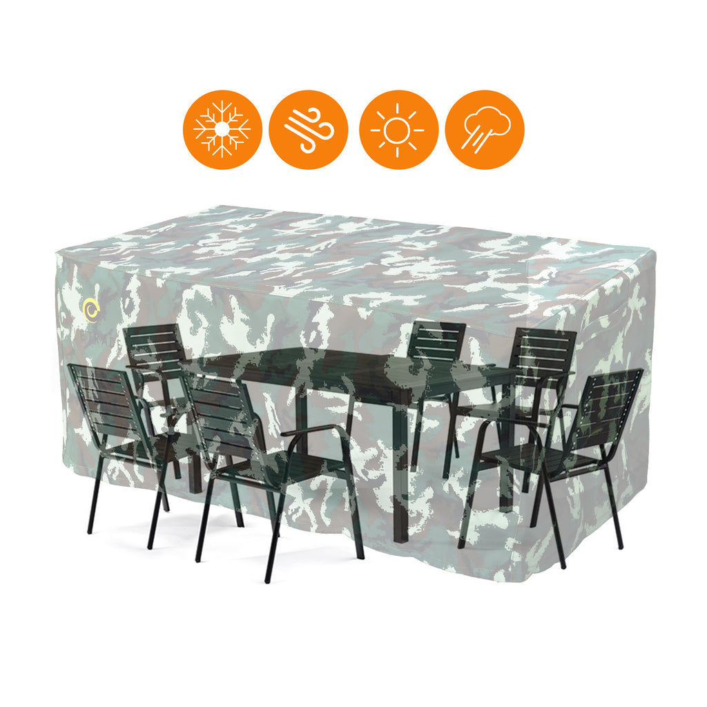 WJ eTrade Patio Table Covers, Outdoor 600D Heavy Duty Waterproof UV Resistant Dining Table Cover, Camouflage