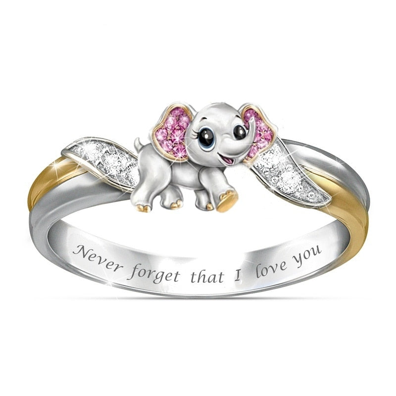 """Never Forget I Love You"" Silver Cute Pink Elephant Crystal Zircon Engagement Ring"