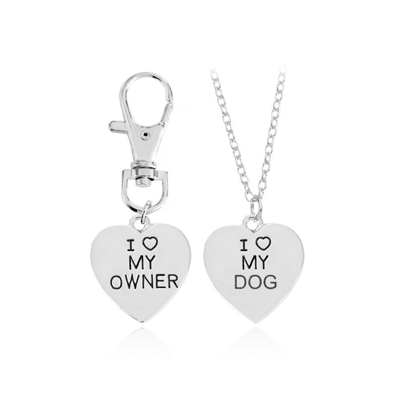 2pcs/set Gold Silver Heart I Love My Owner Dog Necklace Keychain