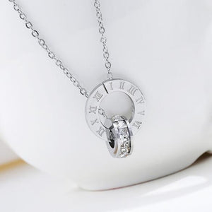 Crystal Love Luxury Brand Roman Numerical Necklace For Women
