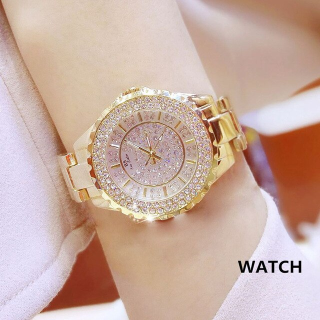 Luxury Diamond Quartz Ladies Rose Gold Watch