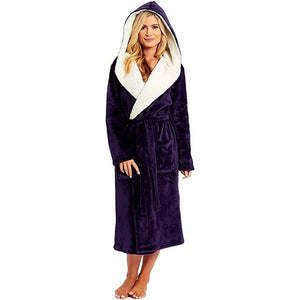 Winter Plush Lengthened Shawl Bathrobe For Women
