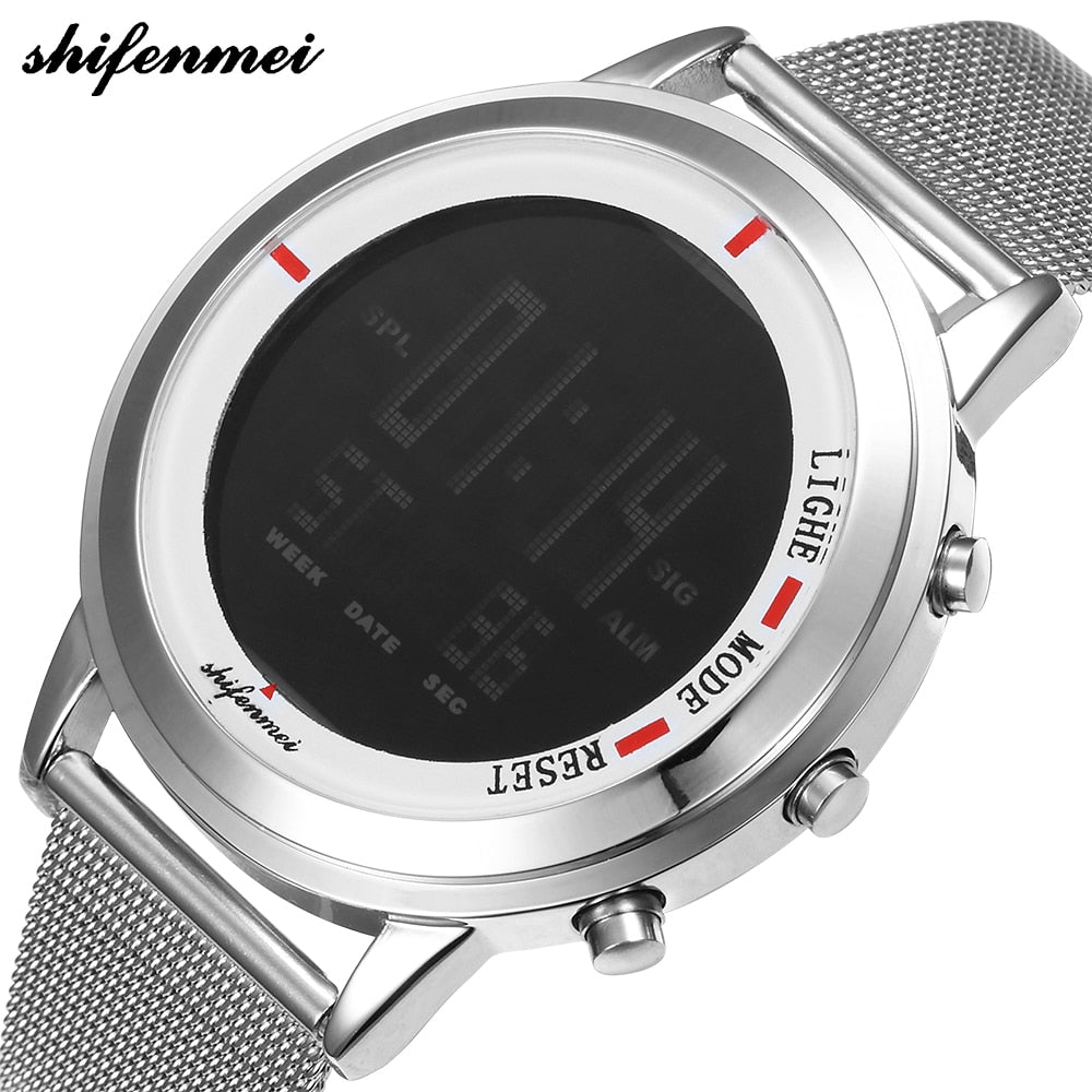 Men Watches Fashion LED Electronic Silver digital Watch