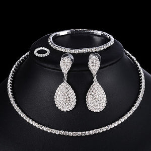 4 PCS Luxury Wedding Bridal Jewelry Sets for Brides Women