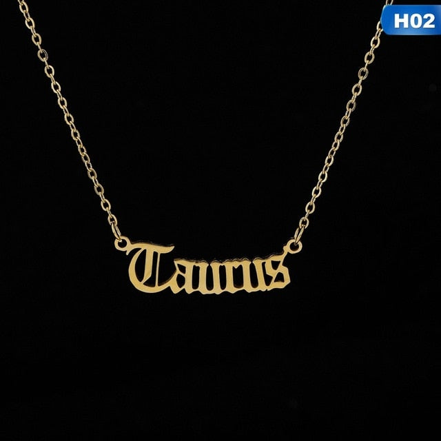 Zodiac Letter Constellations Pendants Necklace For Women Men